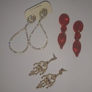 Bundle of 3 Rhinestone Drop Earrings